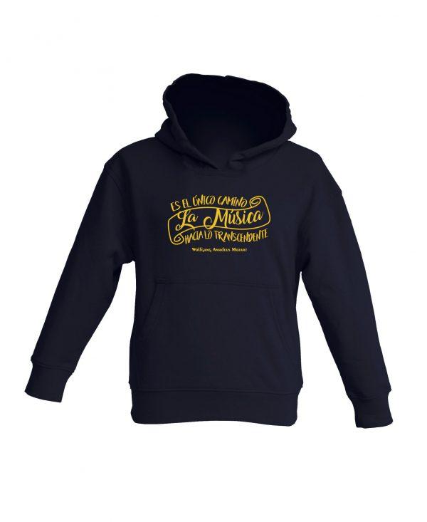 Sudadera Con Capucha Negra Niño La Musica Amarillo