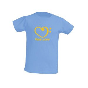 Camiseta celeste niño true love amarillo