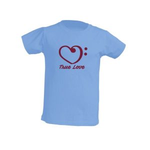 Camiseta celeste niño true love burdeos
