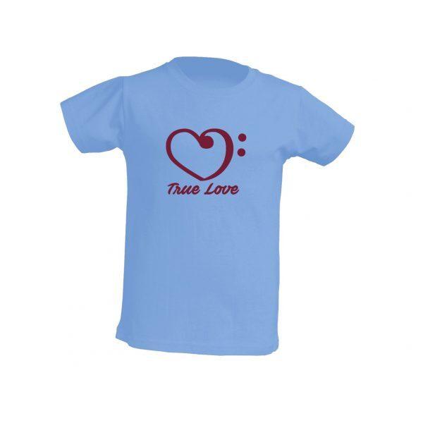 Camiseta celeste niño true love burdeos
